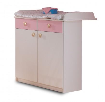 Přebalovací pult Cinderella - Přebalovací pult (bílá, růžová)
