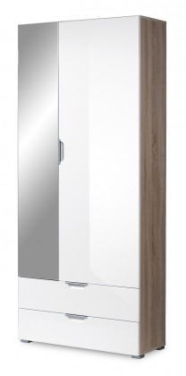 Předsíňová skřín GW-Eva - skříň se zrcadlem (dub sonoma/bílá)
