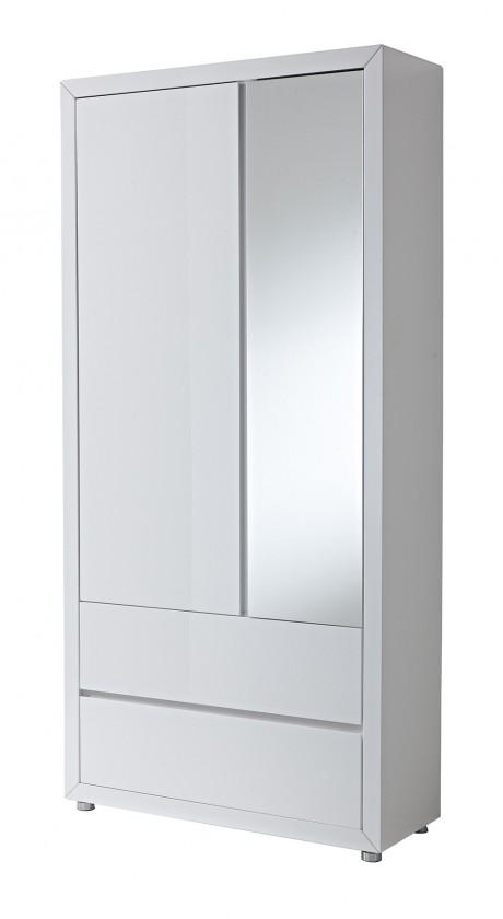 Předsíňová skřín GW-Fino - Skříň,2x dveře,2x šuplík,zrcadlo (bílá)