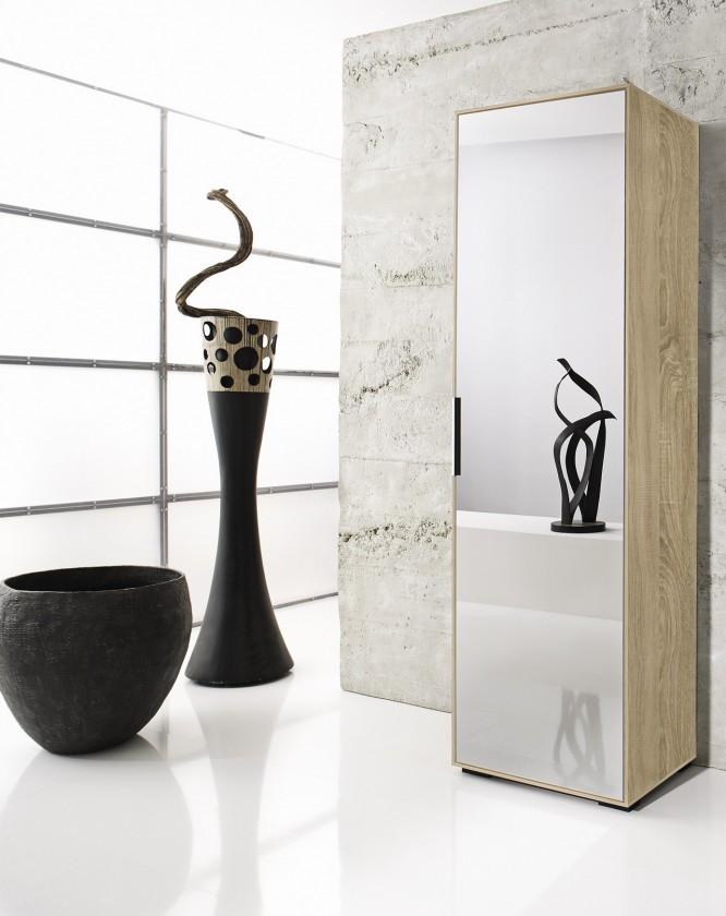 Předsíňová skřín Rhein - Skříň se zrcadlem, 1x dveře (dub)