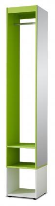 Předsíňová skřín Sonia - šatní skříň (bílá/zelená)