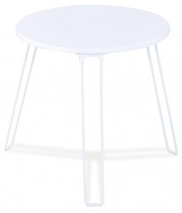 Přístavný stolek Mat - kulatý (bílá, kov)