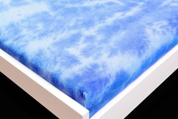 Prostěradlo Froté, batika, 90x200 (modré)
