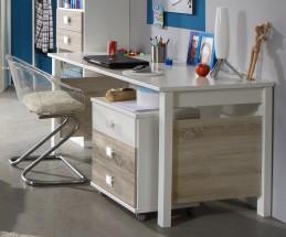 Psací stůl Kira alpská bílá, dub pílený - II. jakost
