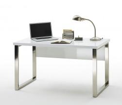 Psací stůl Langres (bílá, stříbrná)