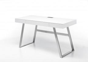 Psací stůl Tegmen (bílá, stříbrná)