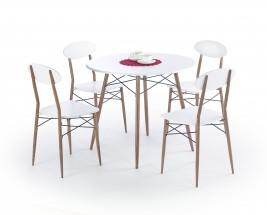 Record - Stůl + 4 židle, kulatý (bílá, hnědá)