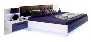 Recover - komplet, postel 180cm (bílý lesk, dub černý)