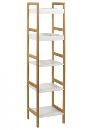 Regál do koupelny Regál DR-013-5 (bambus lakovaný / police bílá)