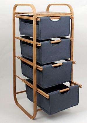 Regál do koupelny Regál DR-017A (bambus / modrá)
