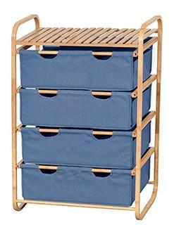Regál do koupelny Regál DR-018A (bambus / modrá)