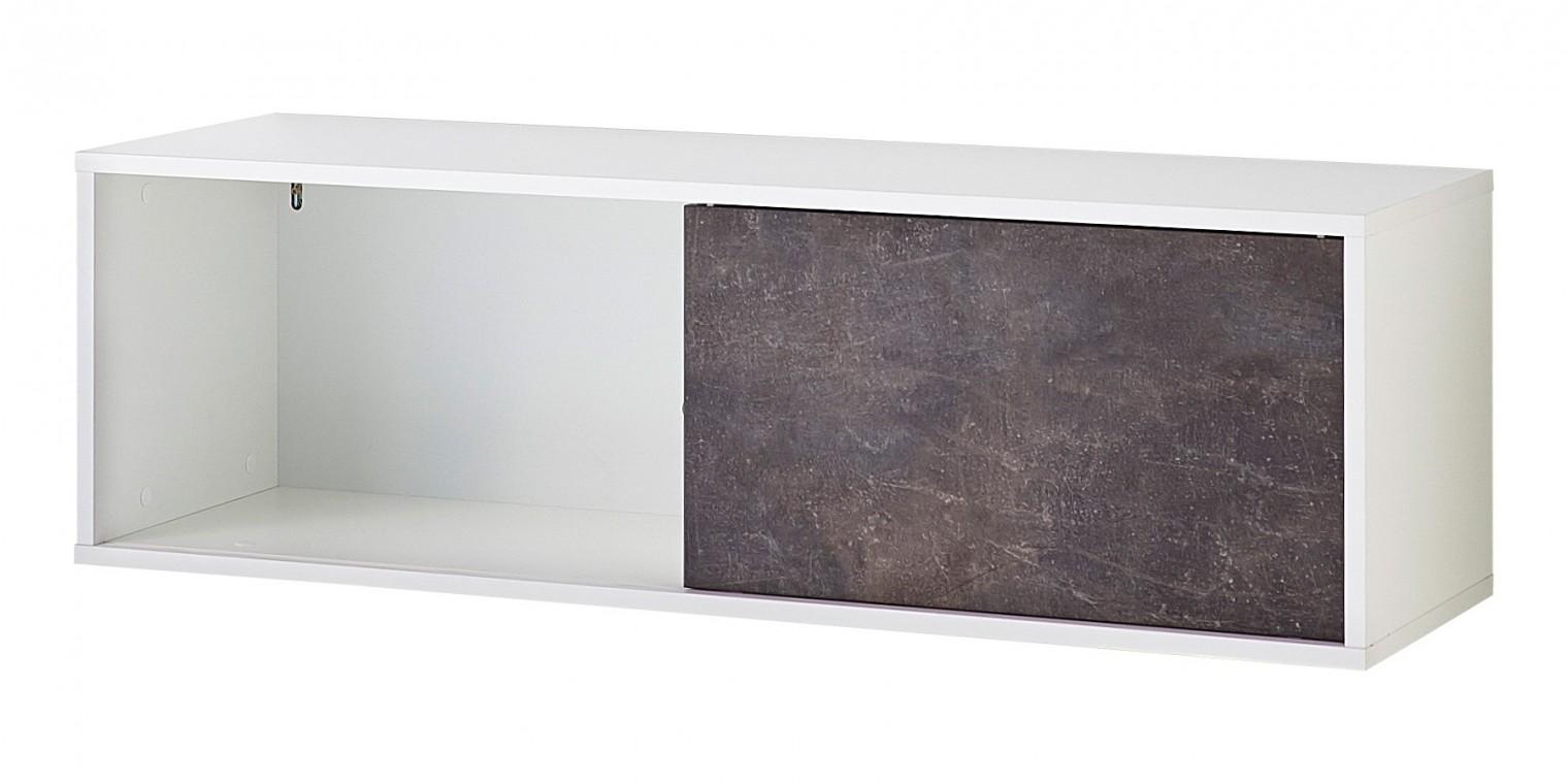 Regál GW-Altino - Regál, posuvné dveře, 120x37x36 (bílá/čedičová šedá)