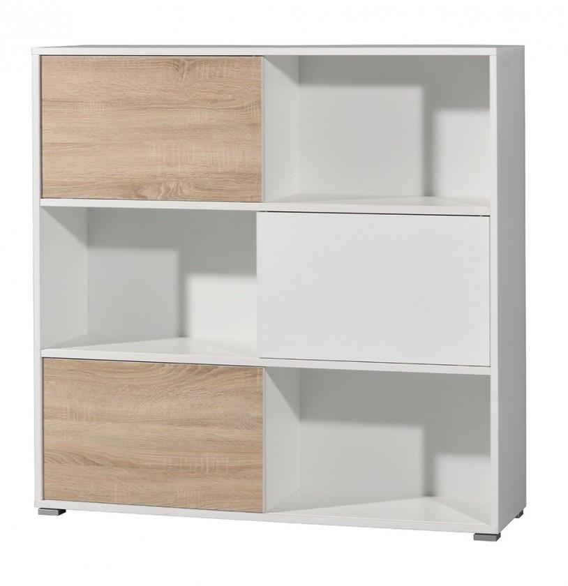 Regál Slide - regál s posuvnými dveřmi, 119 cm (bílá/dub sonoma)