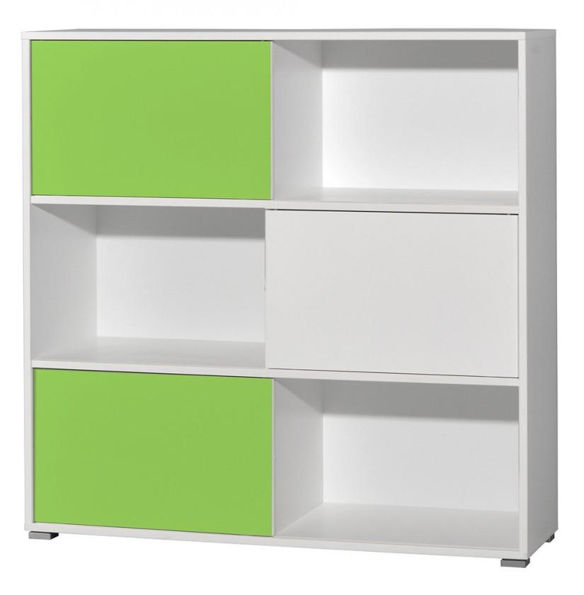 Regál Slide - regál s posuvnými dveřmi, 119 cm (bílá/zelená)