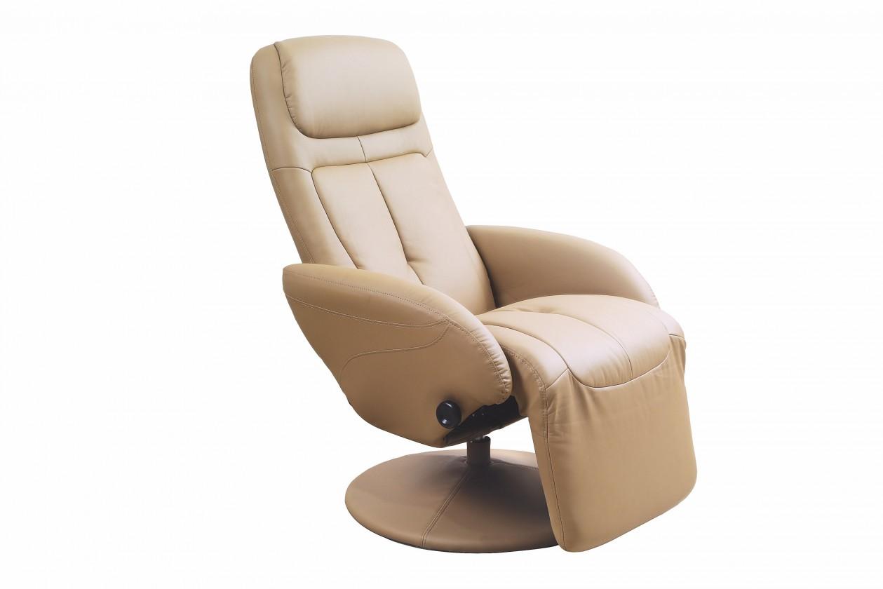 Relaxační Kožené křeslo Optima polohovací béžová