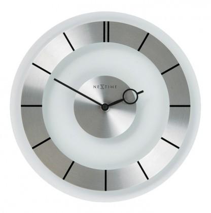 Retro - hodiny, nástěnné, kulaté (sklo, bílé)