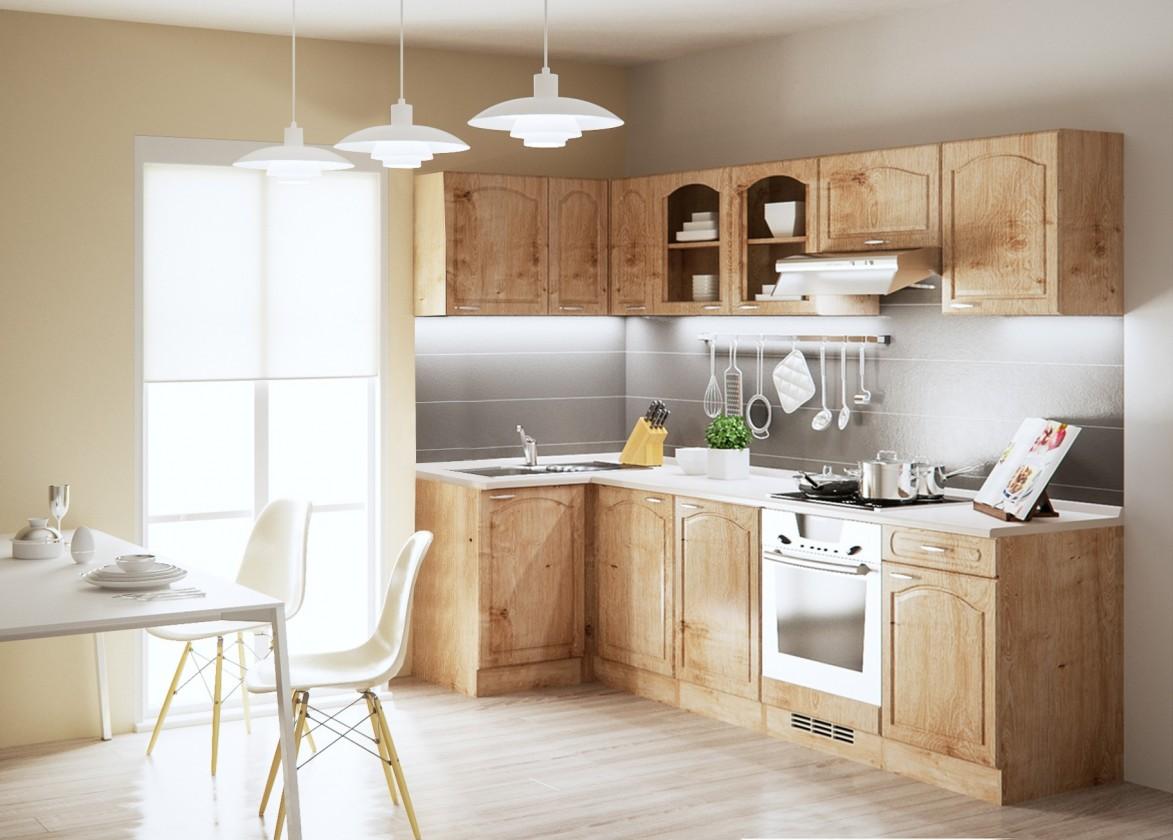 Rohová Julia - Kuchyně, 270x110 cm (dub arlington, traini beige)