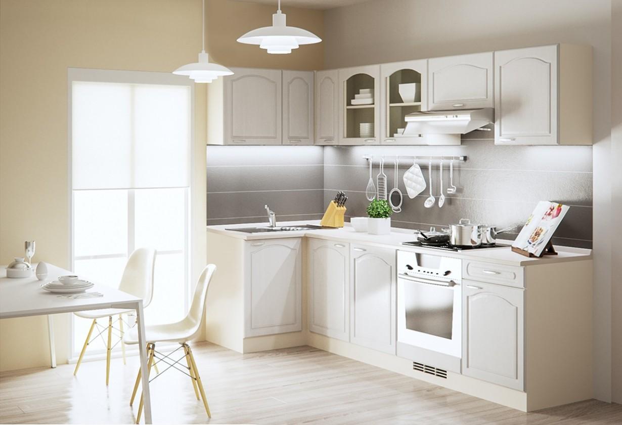 Rohová Julia - Kuchyně, 270x110 cm (vanilka, magnolie, písek)