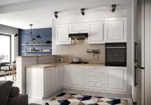 Rohová kuchyně Amelia levý roh 255x170 cm (bílá mat)