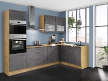 Rohová kuchyně Birgit levý roh 275x155 cm (tmavý beton, dub)
