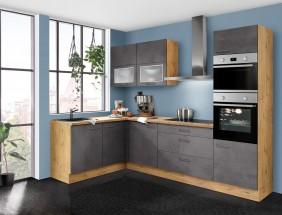 Rohová kuchyně Birgit pravý roh 275x155 cm (tmavý beton, dub)