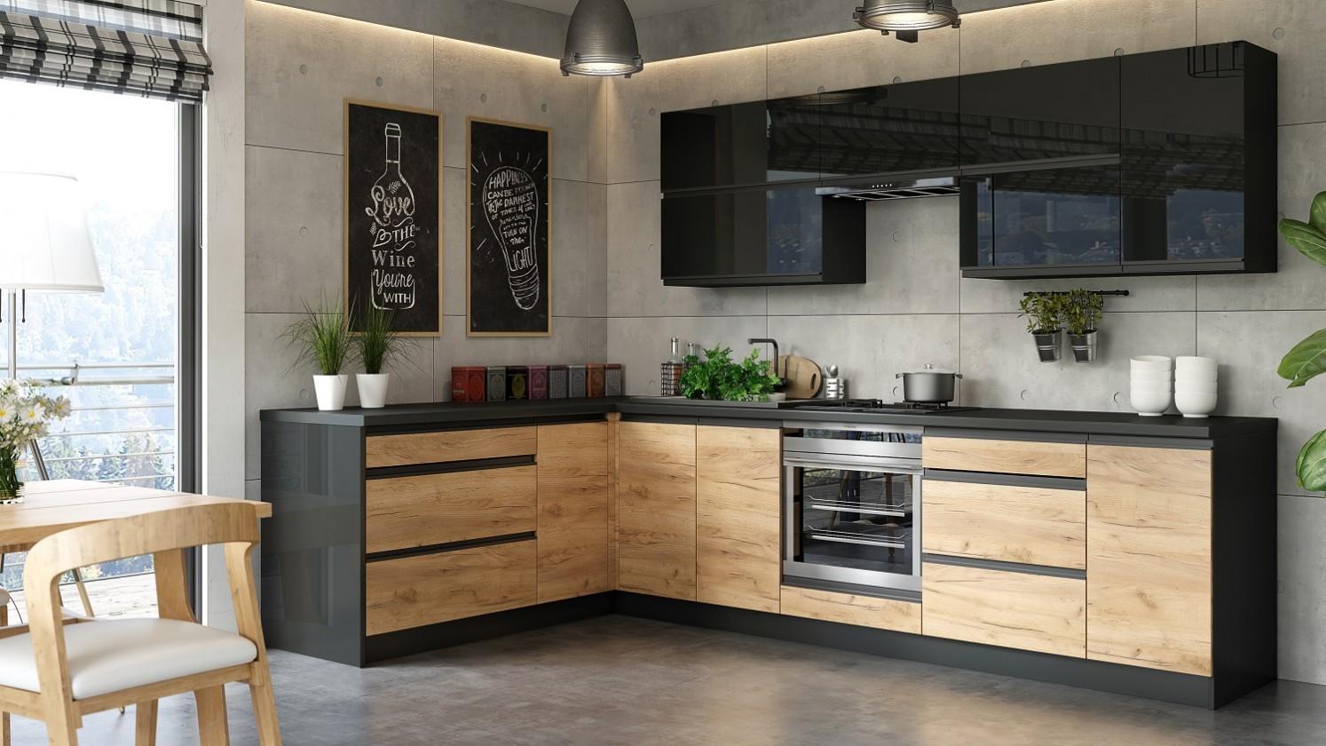 Rohová Kuchyně Brick - 300x182 cm (černá vysoký lesk/craft)