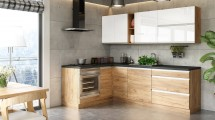 Rohová kuchyně Brick light levý roh 240x160 cm (bílá/dub craft)