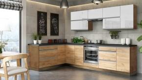 Rohová kuchyně Brick light levý roh 300x182 cm (bílá lesk/craft)