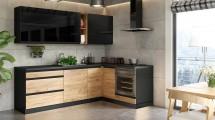Rohová kuchyně Brick pravý roh 240x160 cm (černá/dub craft)