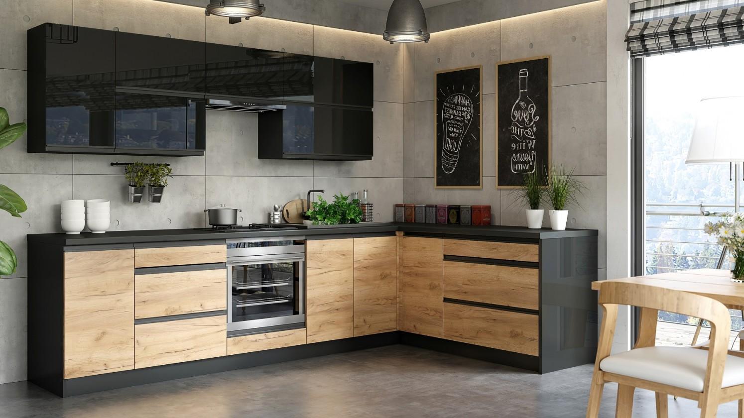 Rohová Kuchyně Brick - pravý roh, 300x182 cm (černá vysoký lesk/craft)