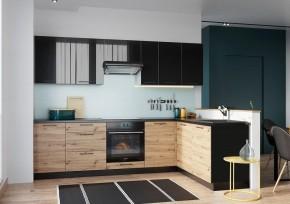 Rohová kuchyně Dixie pravý roh 275x180 cm (černá/dub)