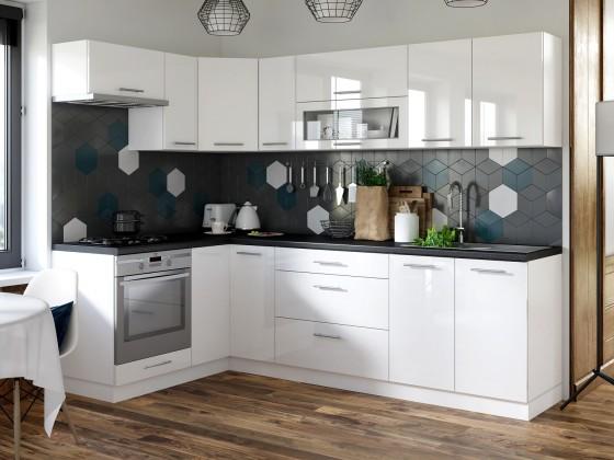 Rohová Kuchyně Emilia levý roh 250x150 cm (bílá vysoký lesk/černá)