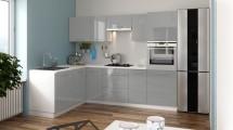 Rohová kuchyně Emilia Lux levý roh 260x180 cm (šedá lesk)