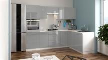 Rohová kuchyně Emilia Lux pravý roh 260x180 cm (šedá lesk)