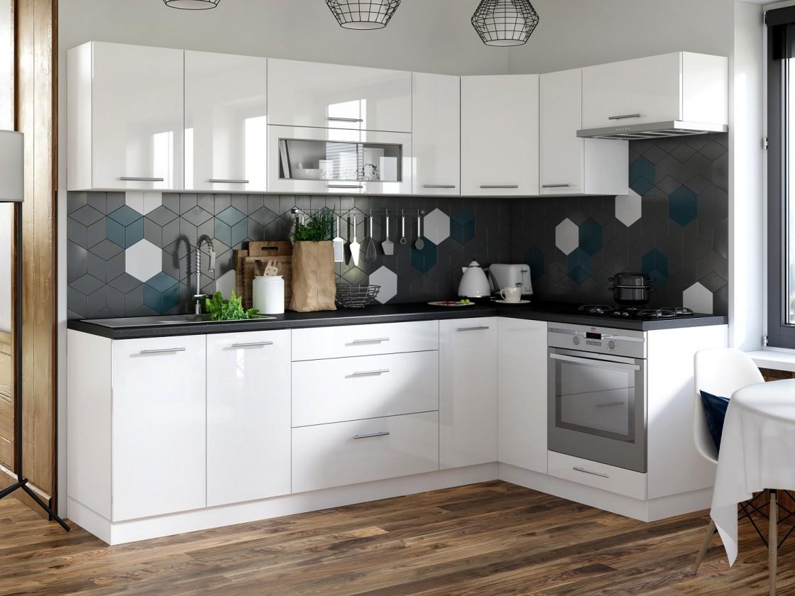 Rohová Kuchyně Emilia pravý roh 243x143 cm (bílá vysoký lesk/černá)
