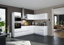 Rohová kuchyně Eugenie levý roh 260x180 (bílá, vysoký lesk, lak)