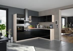 Rohová kuchyně Eugenie levý roh 260x180 (černá,vysoký lesk, lak)