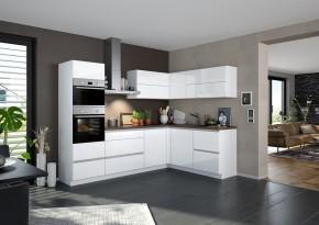 Rohová kuchyně Eugenie levý roh 275x185 (bílá, vysoký lesk, lak)
