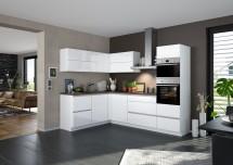 Rohová kuchyně Eugenie pravý roh 260x180 (bílá,vysoký lesk, lak)