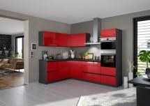 Rohová kuchyně Eugenie pravý roh 275x185 červená,vysoký lesk,lak