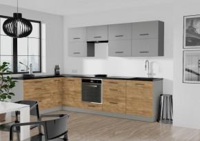 Rohová kuchyně Felicita levý roh 300x180 cm (šedá, dub lefkas)