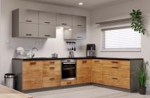 Rohová kuchyně Felicita pravý roh 300x180 cm (šedá, dub lefkas)