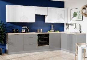 Rohová kuchyně Jodie pravý roh 290x180 cm(bílá,šedá,vysoký lesk)