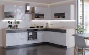 Rohová kuchyně Marina levý roh 285x210 cm (bílá lesk/grafit)