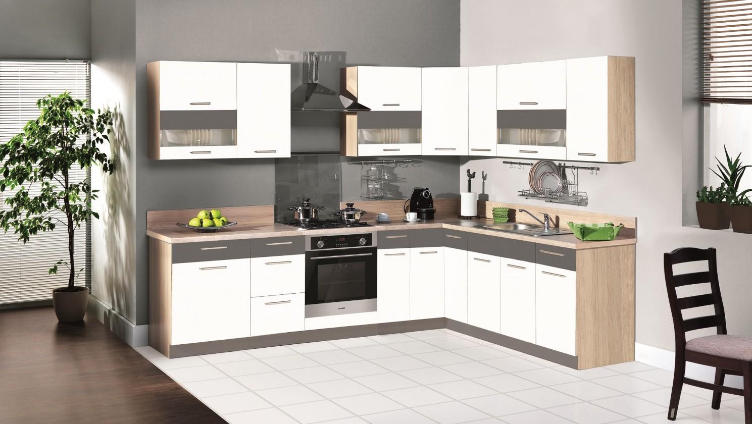 Rohová Kuchyně Marina levý roh 285x210 cm (bílá vysoký lesk/grafit)