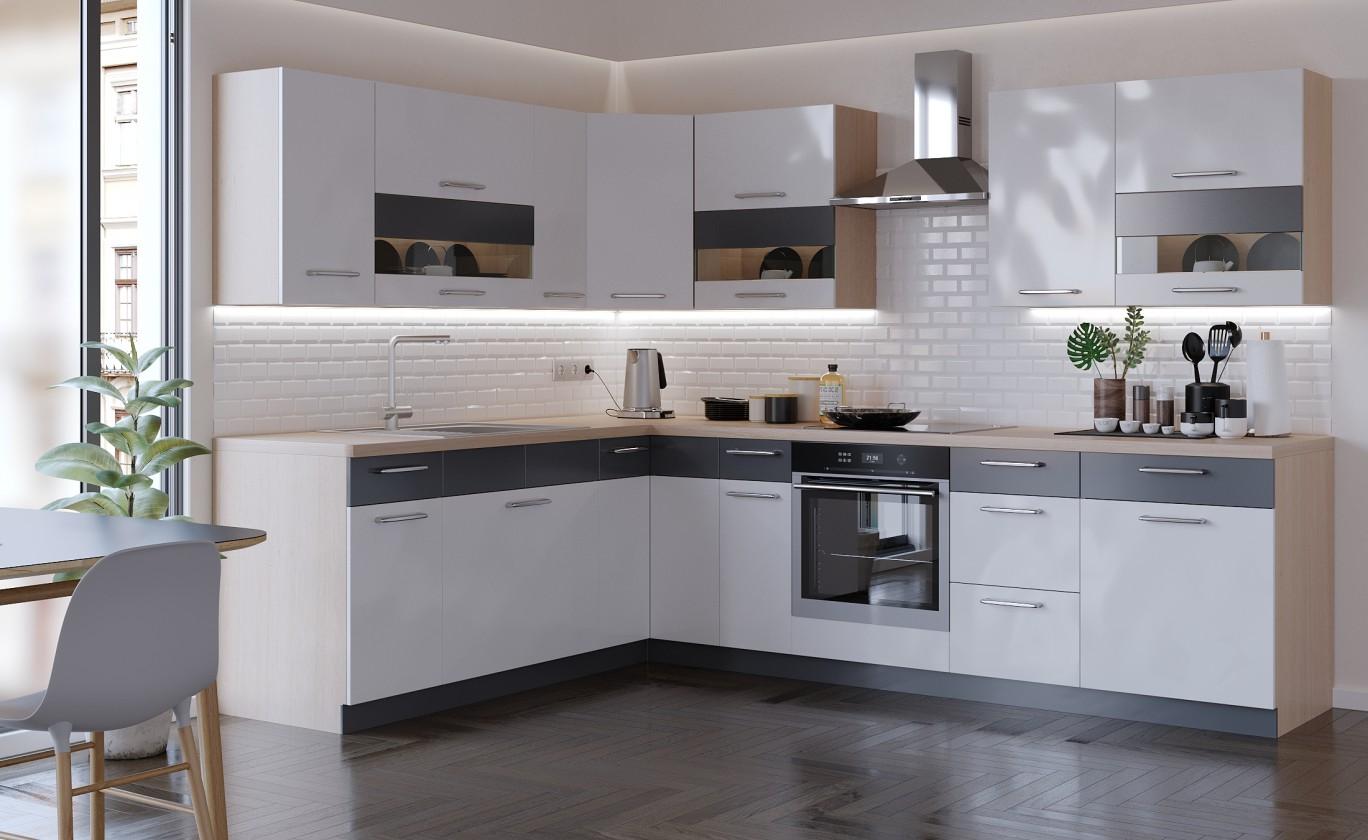 Rohová Kuchyně Marina pravý roh 285x210 cm (bílá vysoký lesk/grafit)
