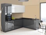 Rohová kuchyně Marsala pravý roh 260x200 cm (bílá/šedá/lesk)