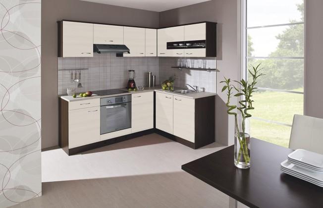 Rohová Kuchyně Nina - 220x160 cm (woodline creme/dub tmavý/písek)