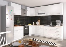 Rohová kuchyně Rio pravý roh 270x170 cm (bílá lesk/dub sonoma)