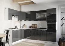 Rohová kuchyně Vicky levý roh 290x180 cm (šedá lesk)
